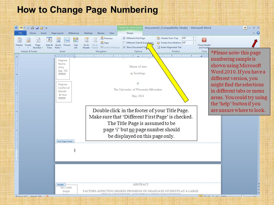 Double click in the footer of your Title Page. Make sure that 'Different First Page' is checked.