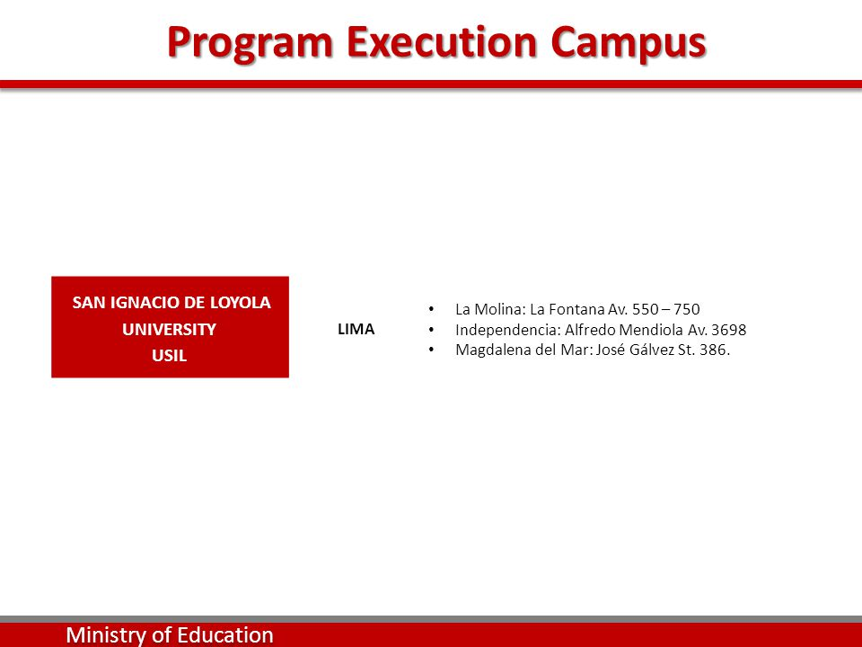 Program Execution Campus Program Execution Campus Ministry of Education SAN IGNACIO DE LOYOLA UNIVERSITY USIL LIMA La Molina: La Fontana Av.