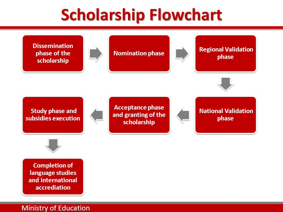 Scholarship Flowchart Dissemination phase of the scholarship Nomination phase Regional Validation phase National Validation phase Acceptance phase and granting of the scholarship Study phase and subsidies execution Completion of language studies and international accrediation Ministry of Education