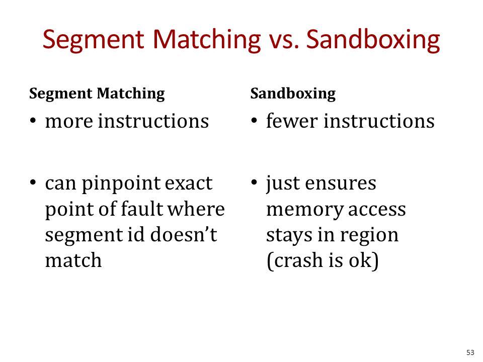 Segment Matching vs.
