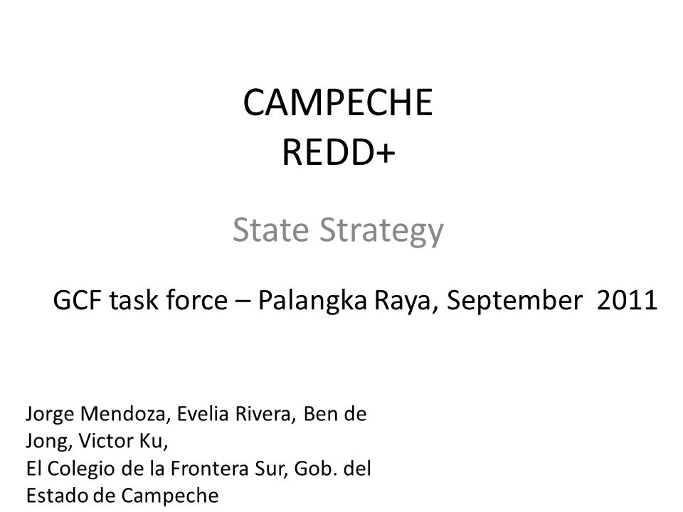 REDD + Process Chronology Marrakesh Agreements 2001 COP-11 Montreal 2005 COP-13 Bali 2007 COP-15 Copenhagen 2009 COP-16 Cancun 2010 In 2010, the Cancun Agreement defines REDD+ and stablish next steps to follow in process preparation.