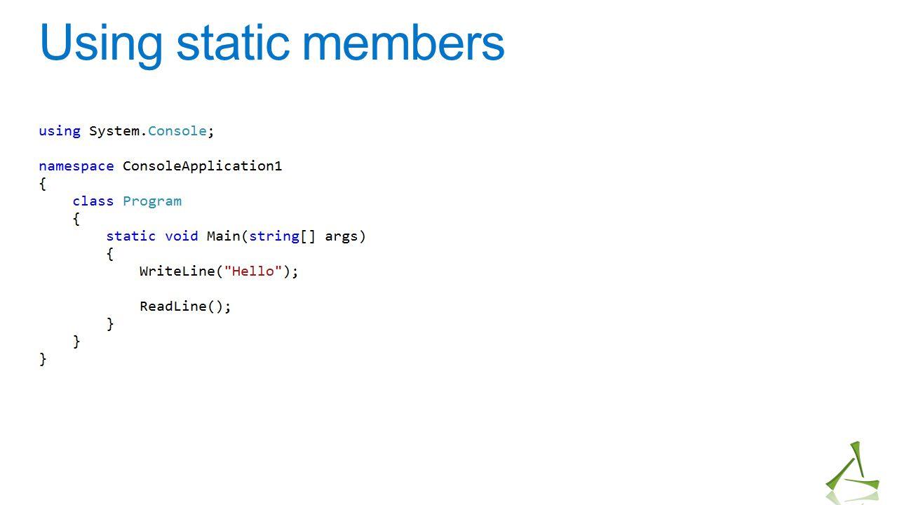 Using static members