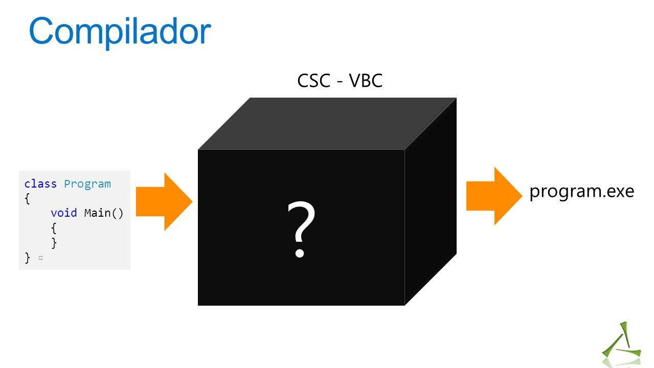 Compilador class Program { void Main() { } } ▫ program.exe CSC - VBC