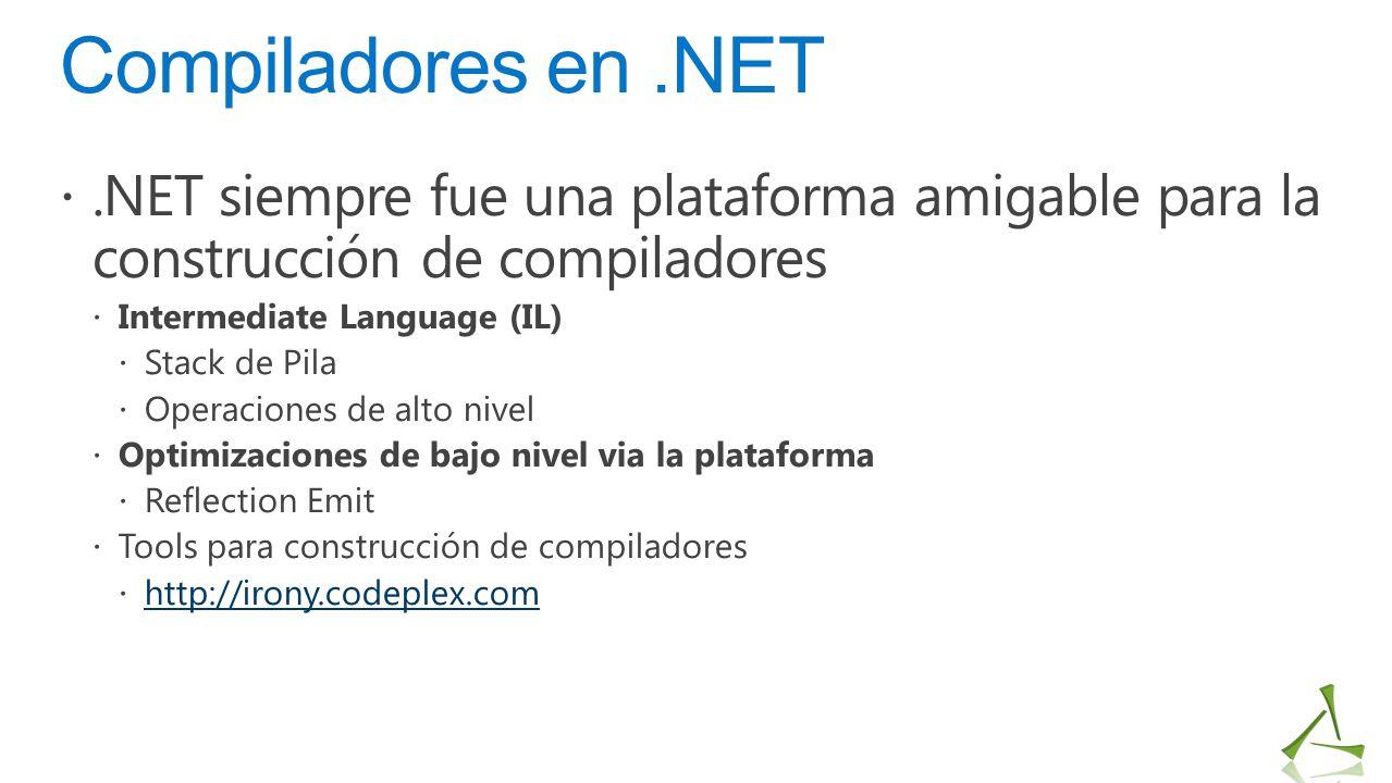 Compiladores en.NET .NET siempre fue una plataforma amigable para la construcción de compiladores  Intermediate Language (IL)  Stack de Pila  Oper