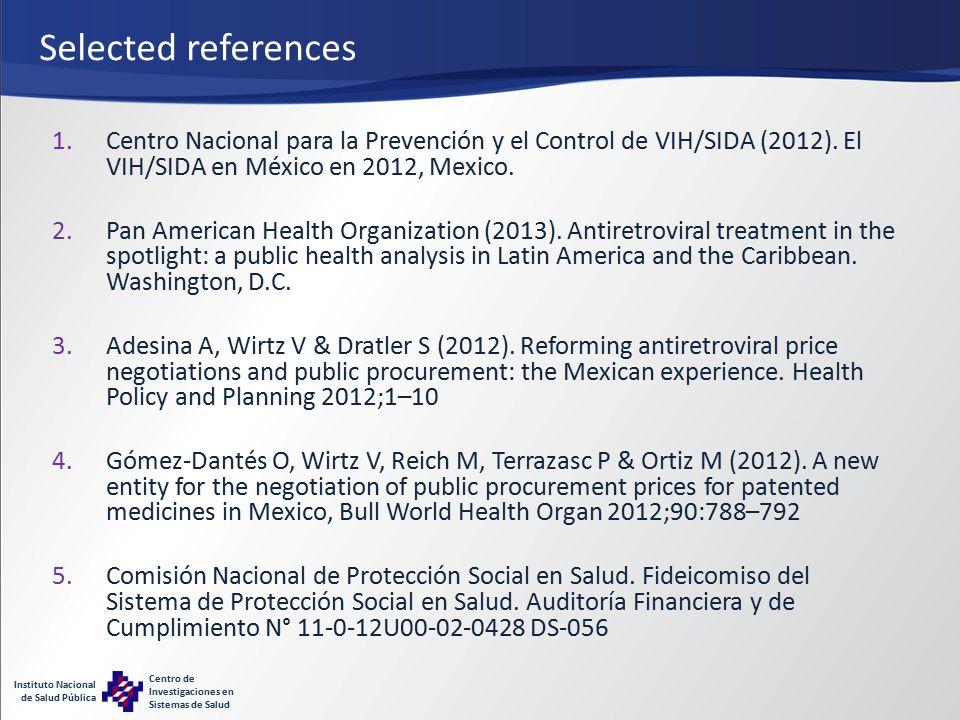 Instituto Nacional de Salud Pública Centro de Investigaciones en Sistemas de Salud Selected references 1.Centro Nacional para la Prevención y el Control de VIH/SIDA (2012).