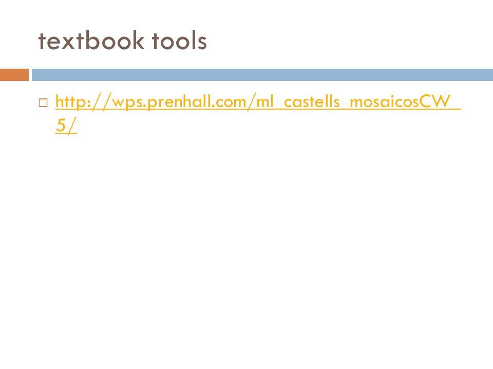textbook tools  http://wps.prenhall.com/ml_castells_mosaicosCW_ 5/ http://wps.prenhall.com/ml_castells_mosaicosCW_ 5/