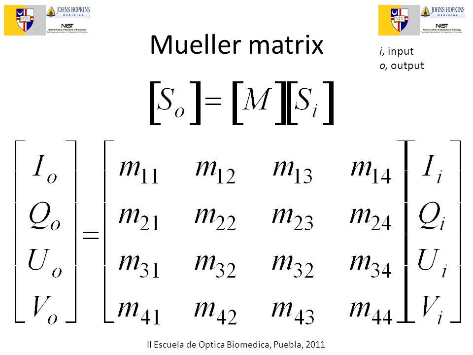 II Escuela de Optica Biomedica, Puebla, 2011 Mueller matrix i, input o, output