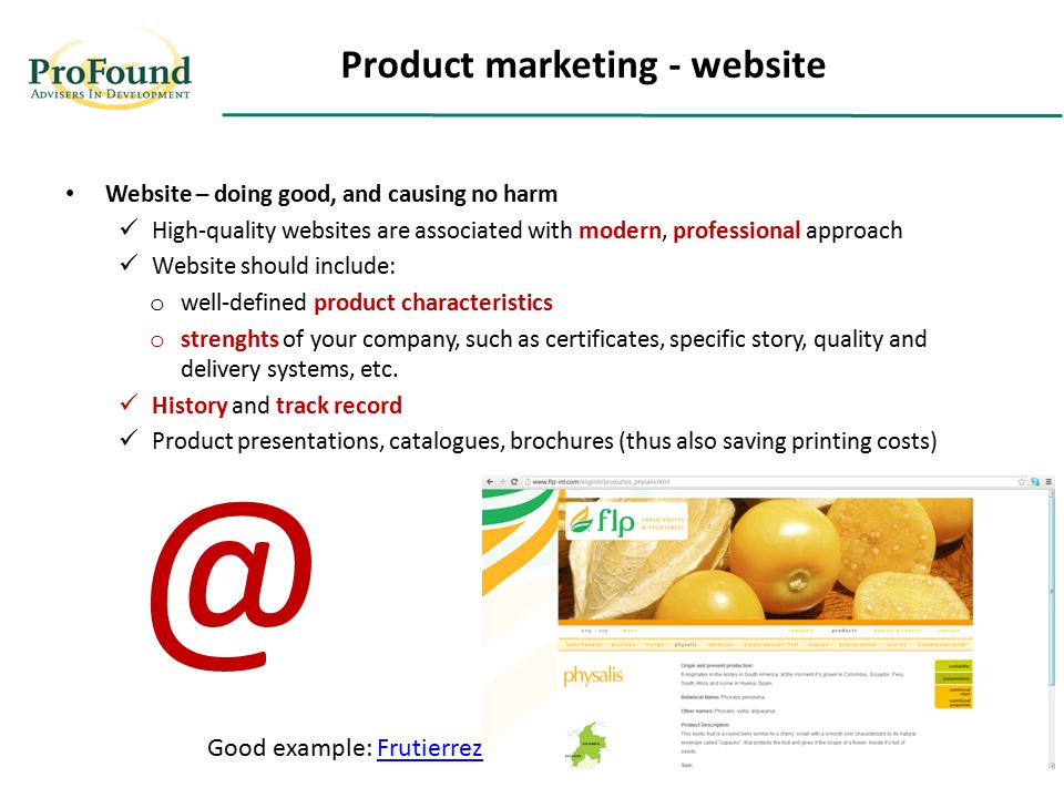 Website – doing good, and causing no harm High-quality websites are associated with modern, professional approach Website should include: o well-defin