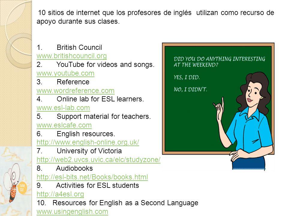10 sitios de internet que los profesores de inglés utilizan como recurso de apoyo durante sus clases.