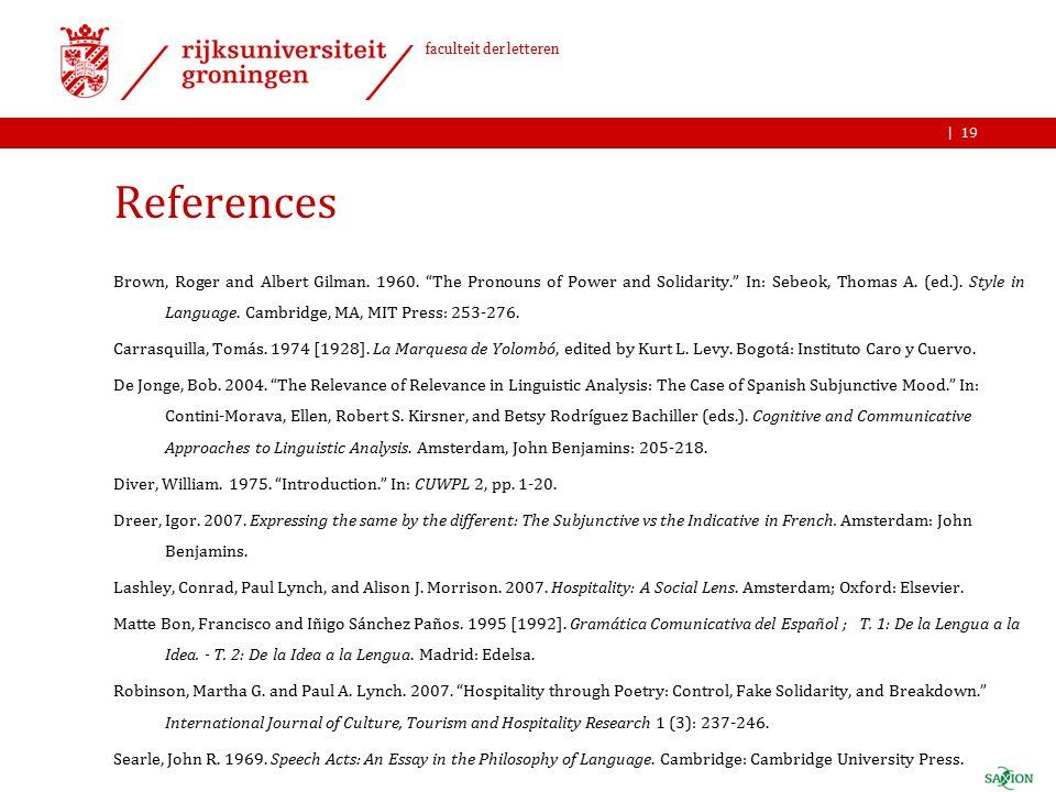 | faculteit der letteren References Brown, Roger and Albert Gilman.