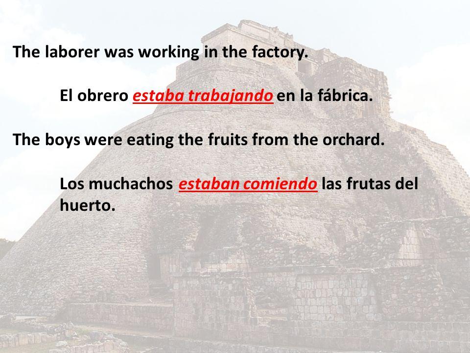The laborer was working in the factory. El obrero estaba trabajando en la fábrica. The boys were eating the fruits from the orchard. Los muchachos est