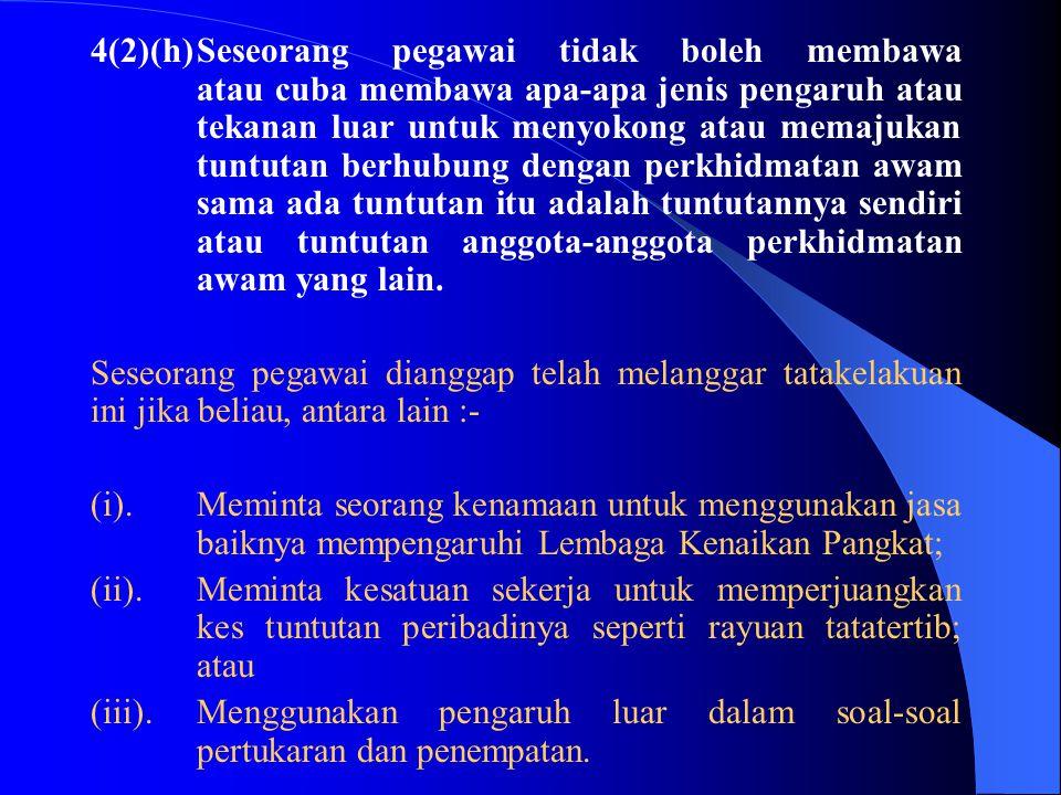 (v).Tidak menghiraukan pandangan/pendapat orang lain sungguhpun pandangan / pendapat itu boleh mendatangkan faedah kepada kerajaan; (vi).Bersikap tida