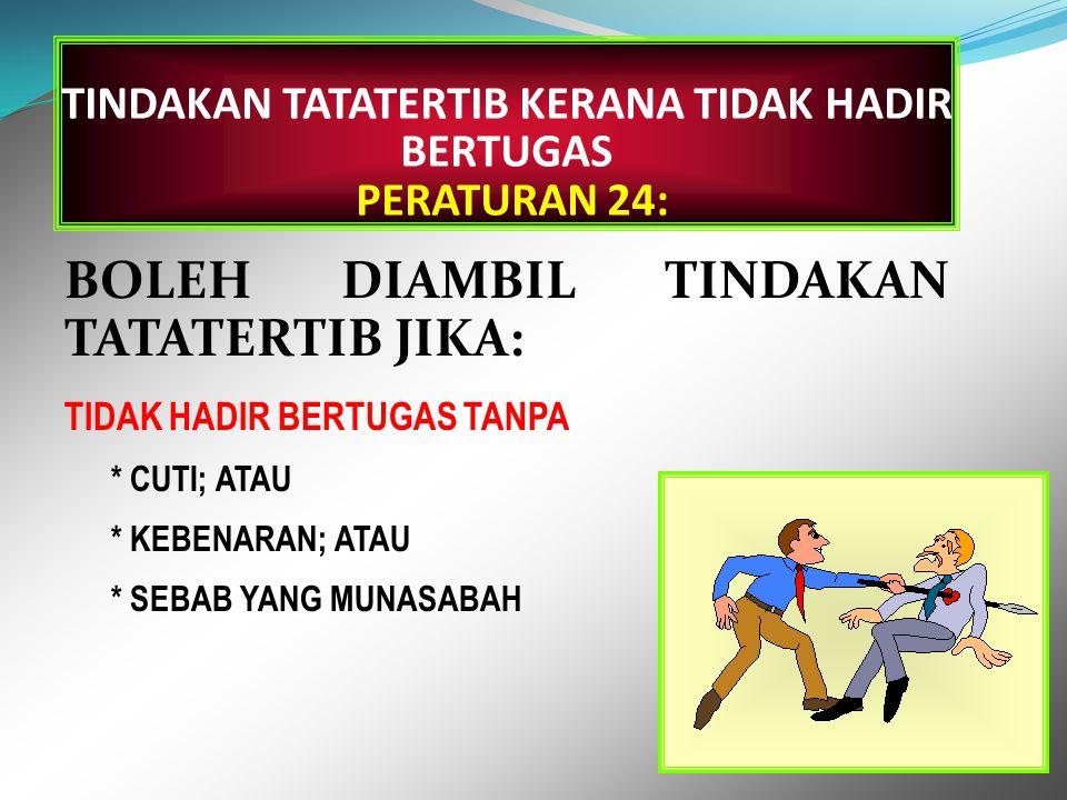 KETIDAKHADIRAN PERATURAN 23: KEGAGALAN UNTUK HADIR BAGI APA-APA JUA TEMPOH MASA PADA MASA DAN TEMPAT DI MANA PEGAWAI ITU DIKEHENDAKI BERTUGAS.