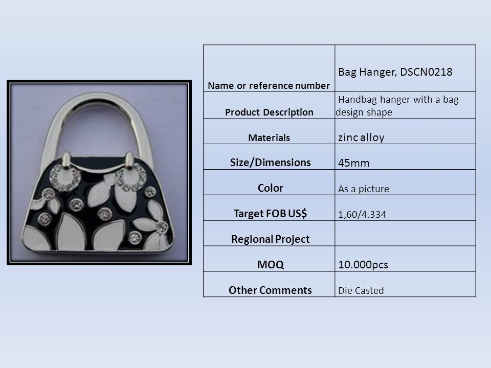 Name or reference number Bag Hanger, ASNY-PH-12 Product Description Handbag hanger with a padlock design Materials zinc alloy Size/Dimensions 45mm Color As a picture Target FOB US$ 1,53/4.170 Regional Project MOQ 5000pcs Other Comments die casted