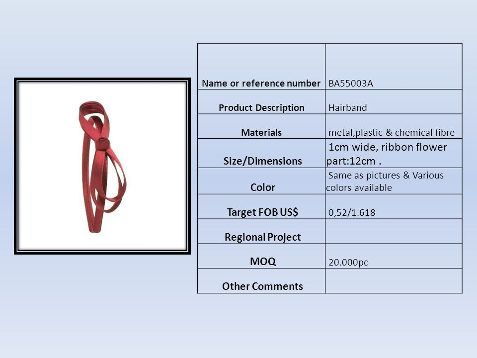 Name or reference numberHC11064 Product Description HAIR CLIP Materials matel and plastic Size/Dimensions 9cm Color Como foto Target FOB US$ 0,70 Regional Project MOQ 10.000pcs Other Comments