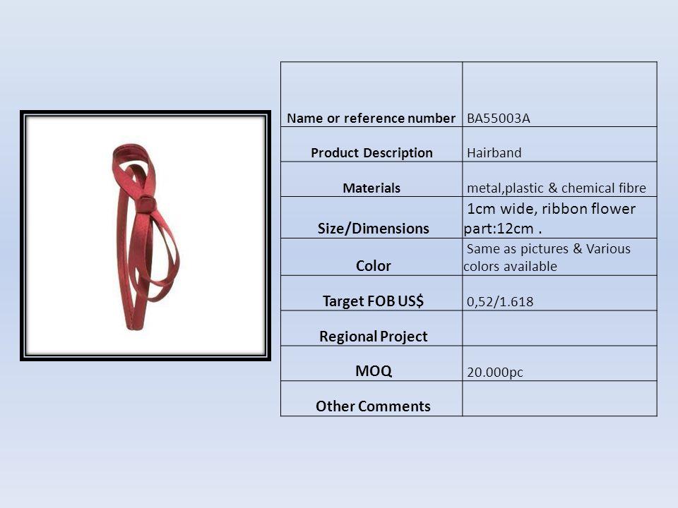 Name or reference number BM04556B Product DescriptionHebilla para el cabello Materials platico y metal Size/Dimensions 10 cm Color Como foto Target FOB US$ US$0,73 Regional Project MOQ 10.000pcs Other Comments