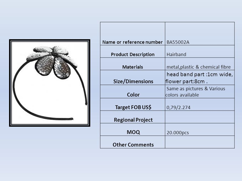 Name or reference number XS04254 Product DescriptionHebilla para el cabello Materials platico y metal Size/Dimensions 10 cm Color Como foto Target FOB US$ US$0,66 Regional Project MOQ 10.000pcs Other Comments