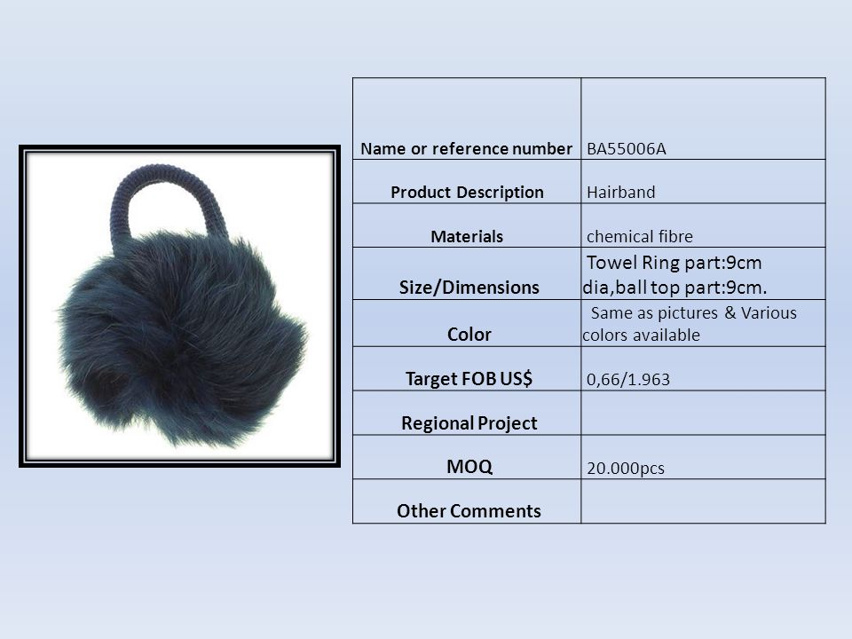 Name or reference numberHF03189 Product Description Materialsplastic Size/Dimensions 4.5*12.5cm Color Como foto Target FOB US$ $0,50 Regional Project MOQ 10.000pcs Other Comments