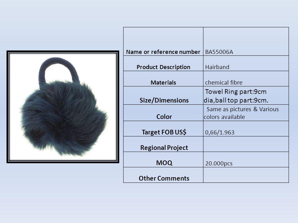 Name or reference number HF02855 Product DescriptionHebilla para el cabello Materials platico y metal Size/Dimensions 10 cm Color Como foto Target FOB US$ US$0,38 Regional Project MOQ 10.000pcs Other Comments