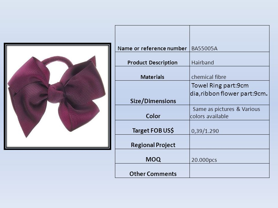 Name or reference number BA55004A Product Description Hairband Materials metal,plastic & chemical fibre Size/Dimensions head band part :1cm wide, flower part:8.5- 9cm,petalage part:4cm/one,flower Heart part:2.5cm.