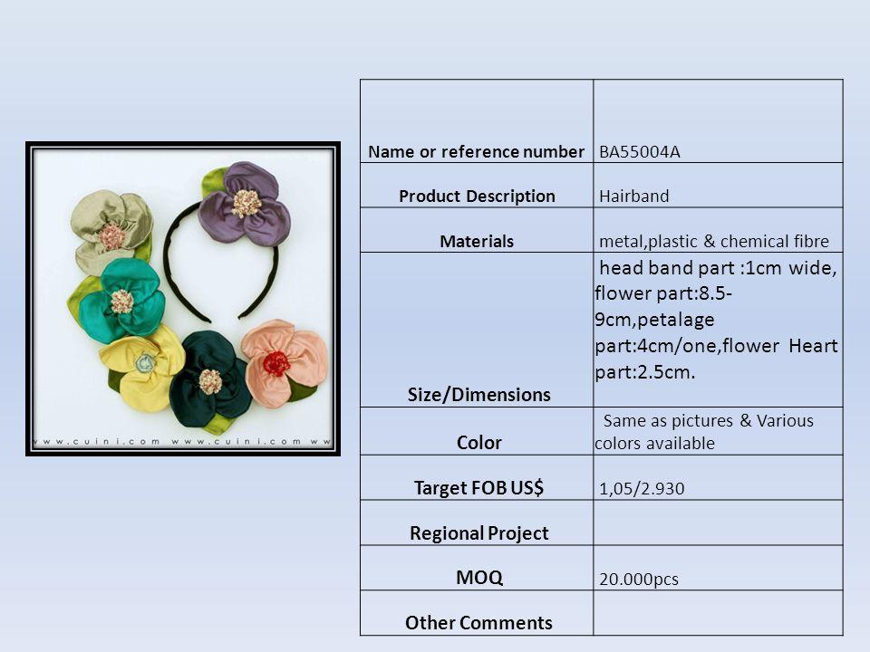 Name or reference numberBN09513A Product DescriptionHAIR CLIP Materialschemical fibre Size/Dimensions 1x12cm Color Como foto Target FOB US$ 0,68 Regional Project MOQ 10.000pcs Other Comments