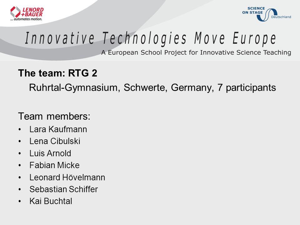 The team: RTG 2 Ruhrtal-Gymnasium, Schwerte, Germany, 7 participants Team members: Lara Kaufmann Lena Cibulski Luis Arnold Fabian Micke Leonard Hövelmann Sebastian Schiffer Kai Buchtal