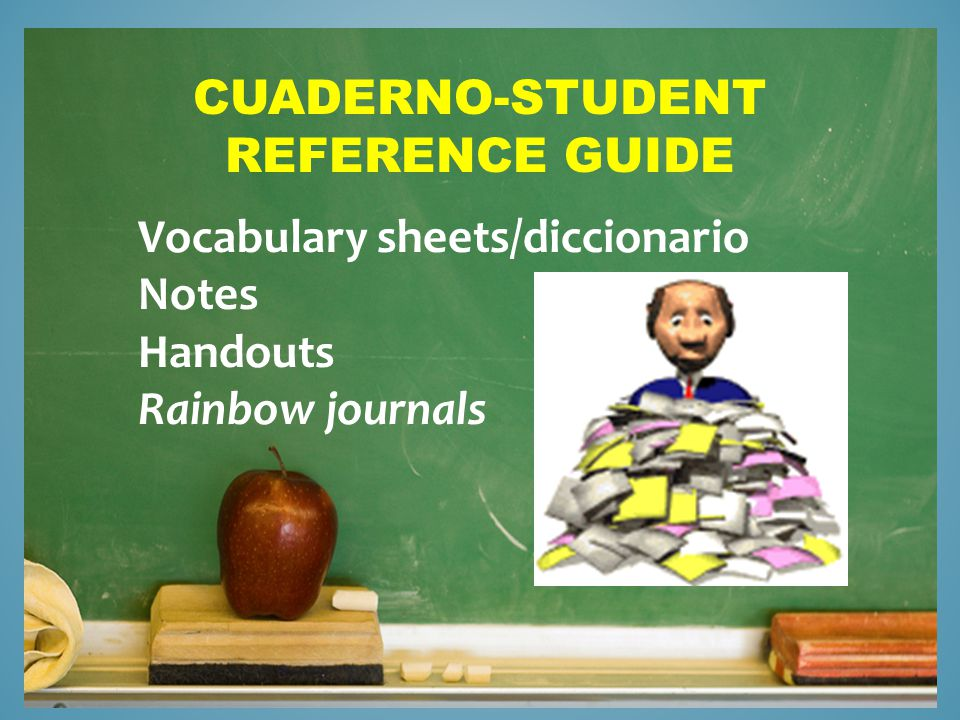 CUADERNO-STUDENT REFERENCE GUIDE Vocabulary sheets/diccionario Notes Handouts Rainbow journals