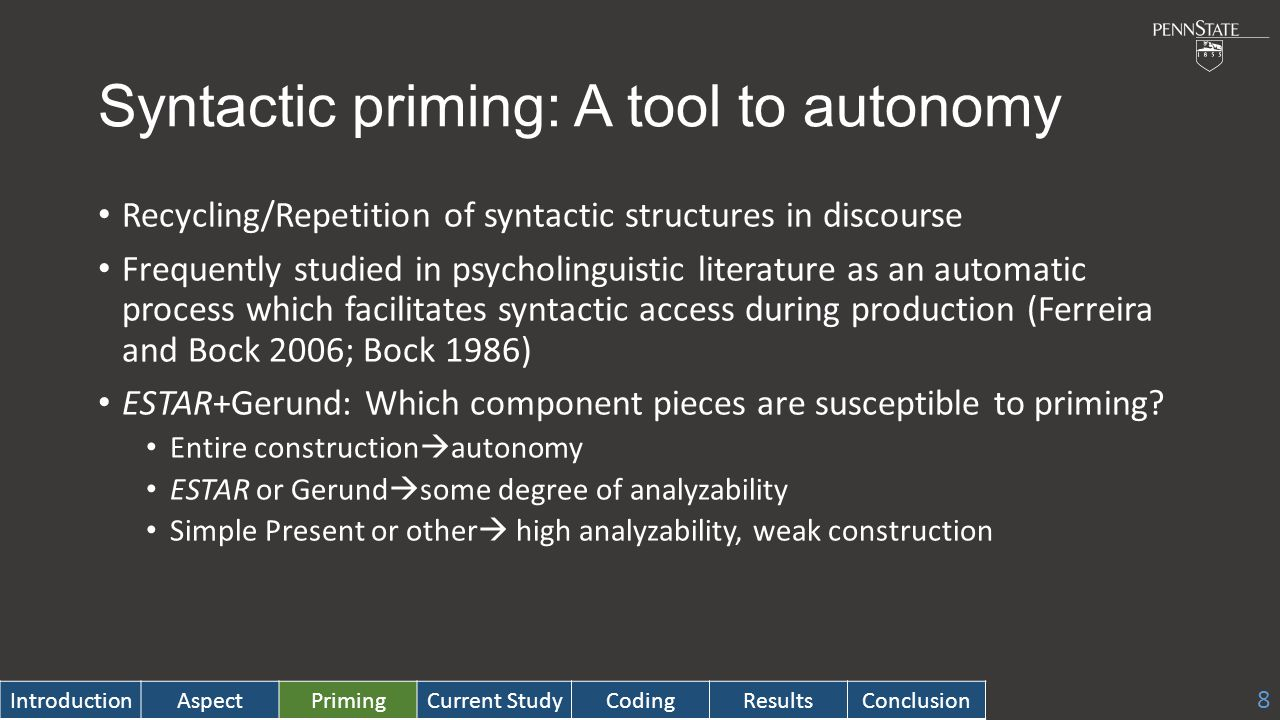 Syntactic priming: A tool to autonomy Recycling/Repetition of syntactic structures in discourse Frequently studied in psycholinguistic literature as an automatic process which facilitates syntactic access during production (Ferreira and Bock 2006; Bock 1986) ESTAR+Gerund: Which component pieces are susceptible to priming.