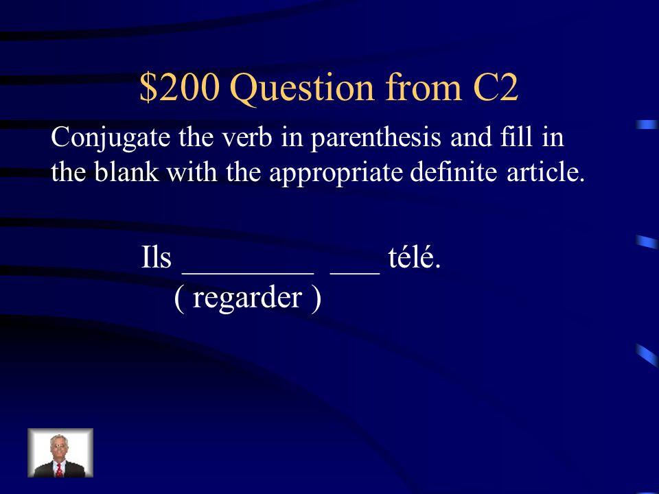 $100 Answer from C2 parleIl _____ ___ français. le
