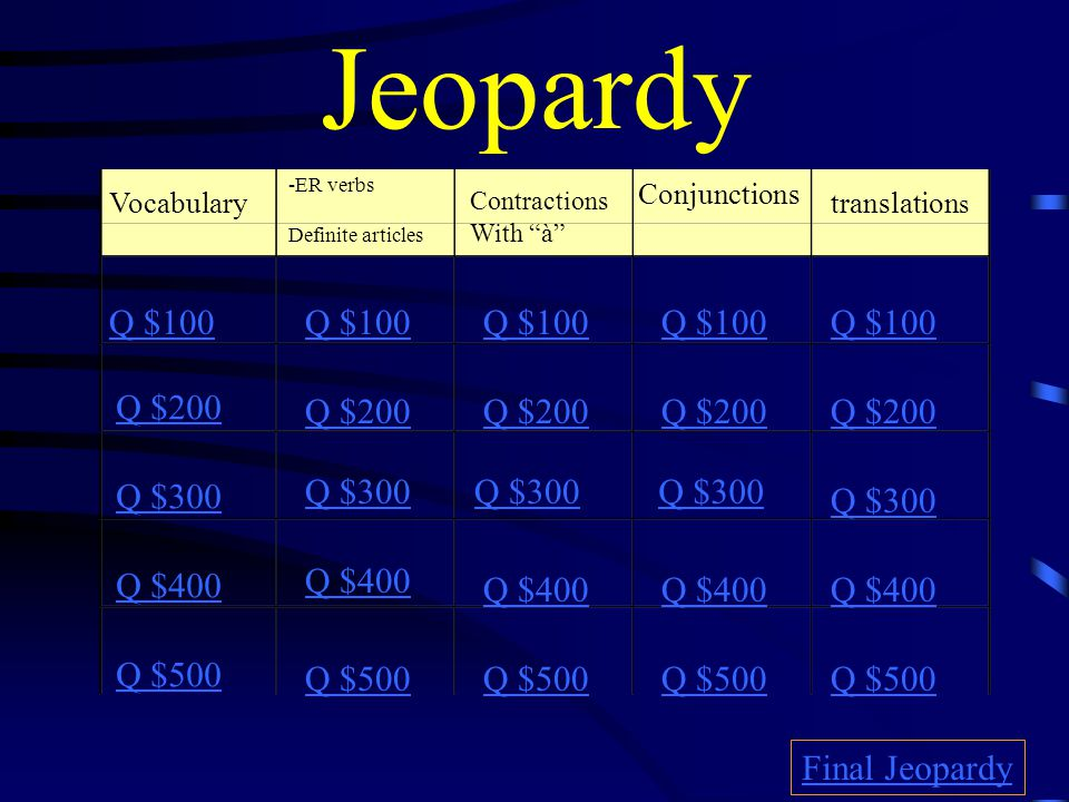 Directions to create Jeopardy Game Open template Save As (whatever title you choose) File open Type in categories by clicking on the text box Use the