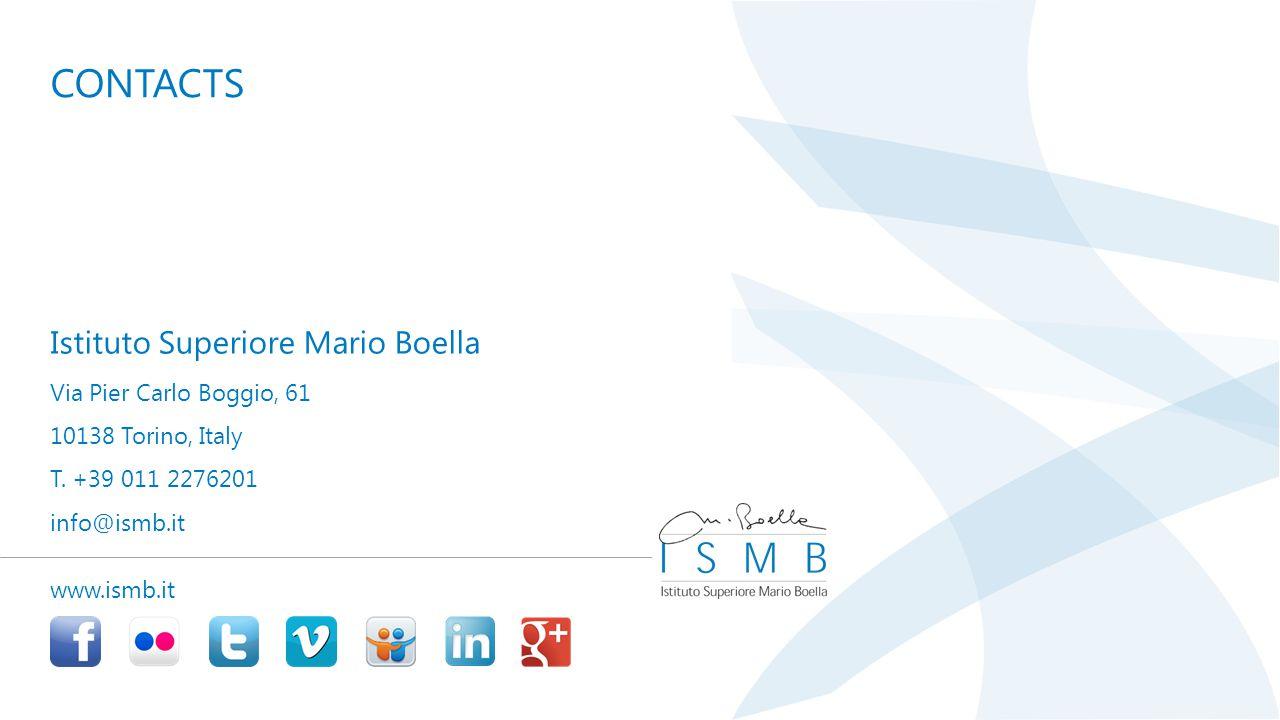 www.ismb.it Istituto Superiore Mario Boella Via Pier Carlo Boggio, 61 10138 Torino, Italy T.