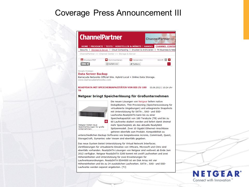 Coverage Press Announcement III