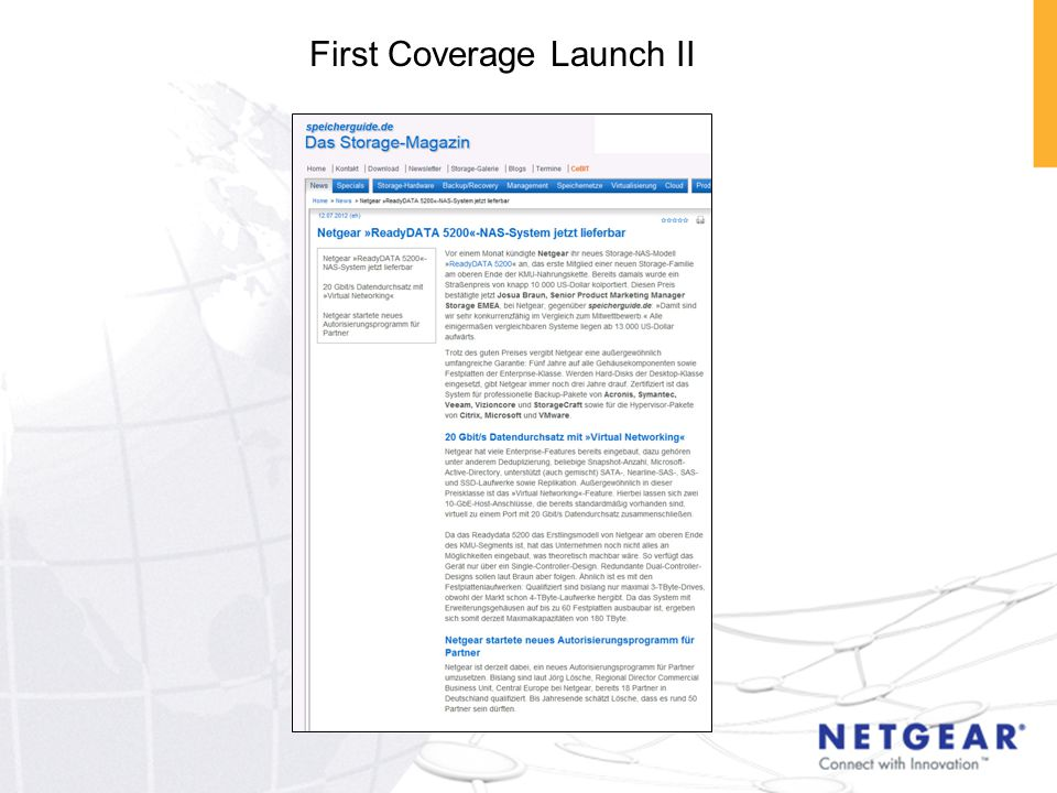 First Coverage Launch II