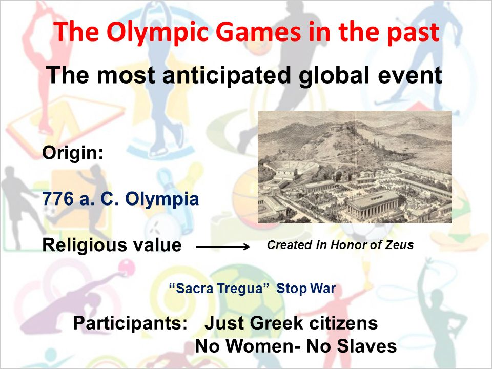 The Olympic Games in the past The most anticipated global event Origin: 776 a.