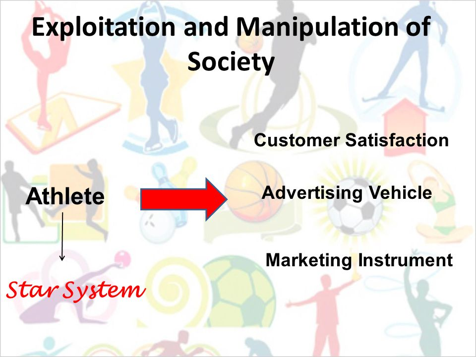 Exploitation and Manipulation of Society Athlete Advertising Vehicle Marketing Instrument Customer Satisfaction Star System