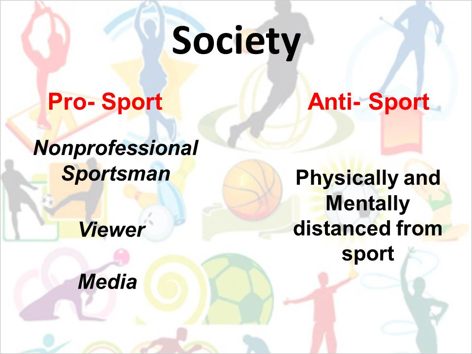 Society Nonprofessional Sportsman Viewer Pro- SportAnti- Sport Media Physically and Mentally distanced from sport