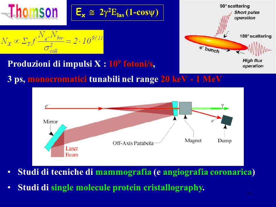 31 E x  2  2  las (1-cos  ) 10 9 fotoni/s Produzioni di impulsi X : 10 9 fotoni/s, monocromatici 20 keV - 1 MeV 3 ps, monocromatici tunabili nel range 20 keV - 1 MeV Studi di tecniche di mammografia (e angiografia coronarica) Studi di single molecule protein cristallography.