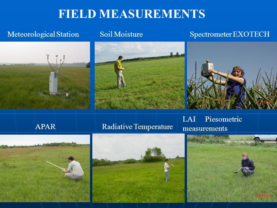 APARRadiative Temperature LAI Piesometric measurements Meteorological StationSoil MoistureSpectrometer EXOTECH FIELD MEASUREMENTS