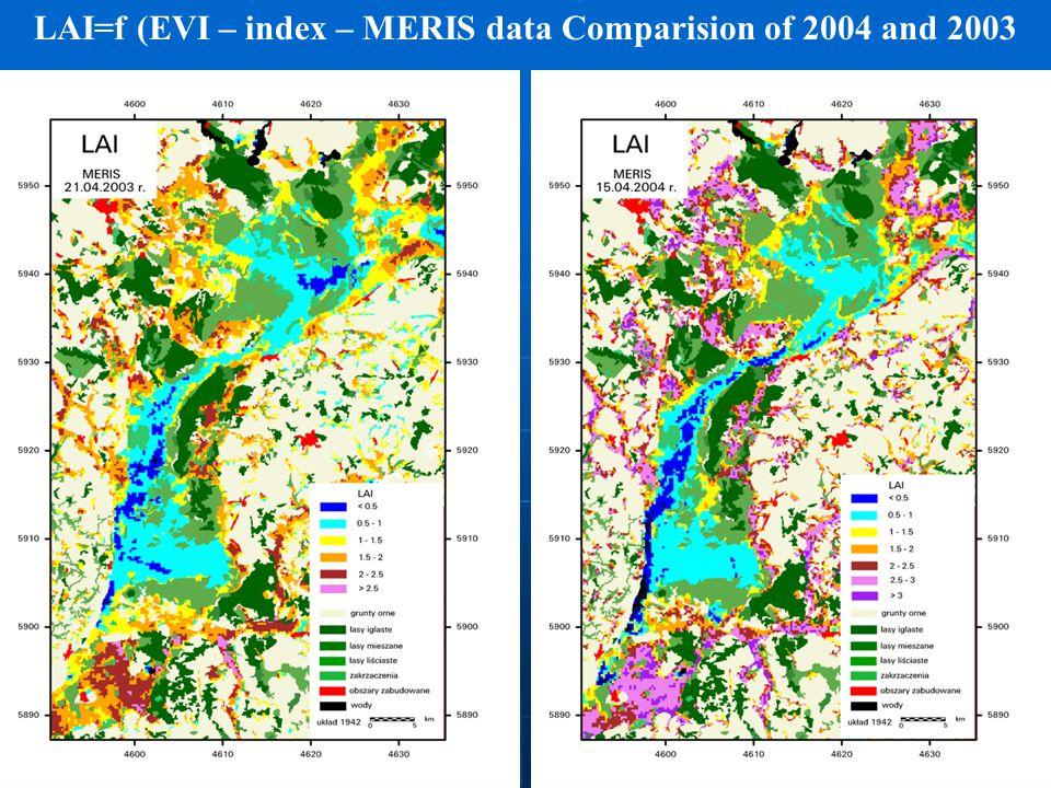 LAI=f (EVI – index – MERIS data Comparision of 2004 and 2003