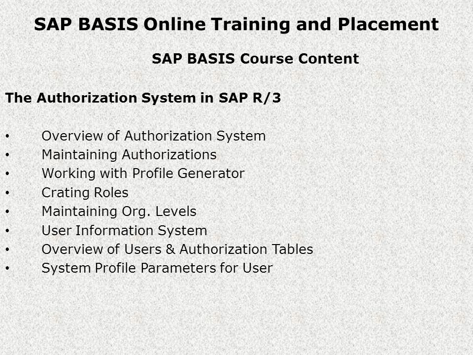 SAP BASIS Online Training and Placement SAP BASIS Course Content The Authorization System in SAP R/3 Overview of Authorization System Maintaining Authorizations Working with Profile Generator Crating Roles Maintaining Org.