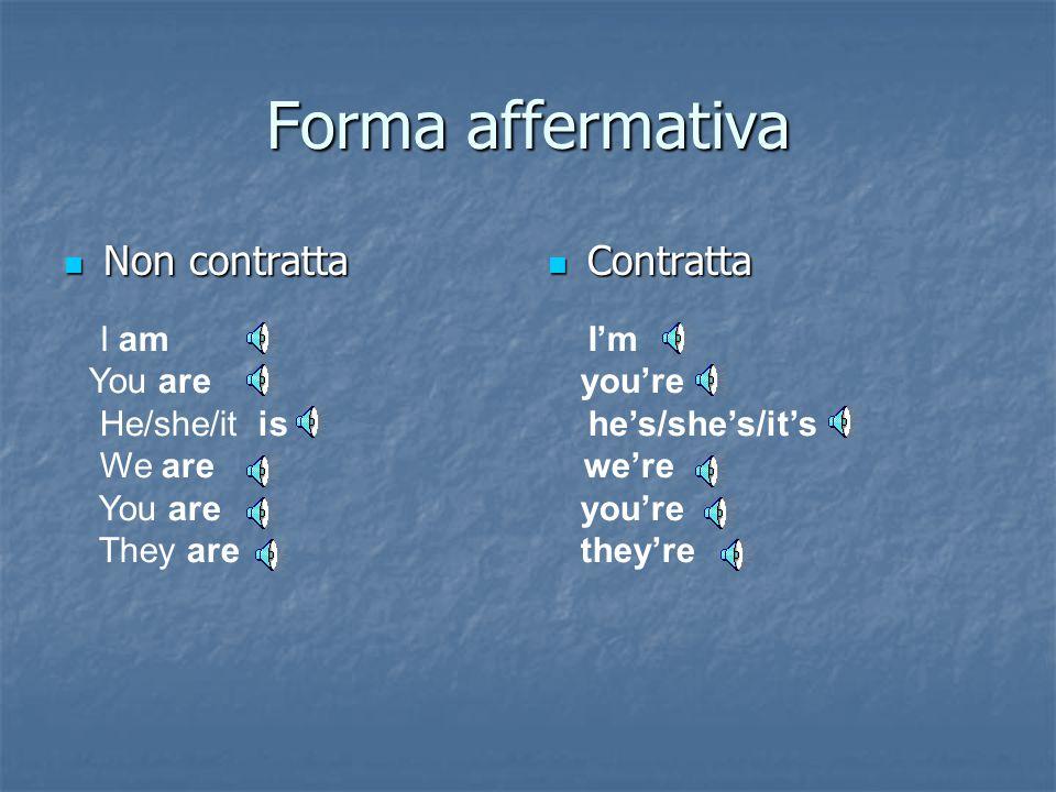 Il verbo essere (the verb to be) Tutte le forme del verbo essere al presente (da lezione 1 modulo 1)