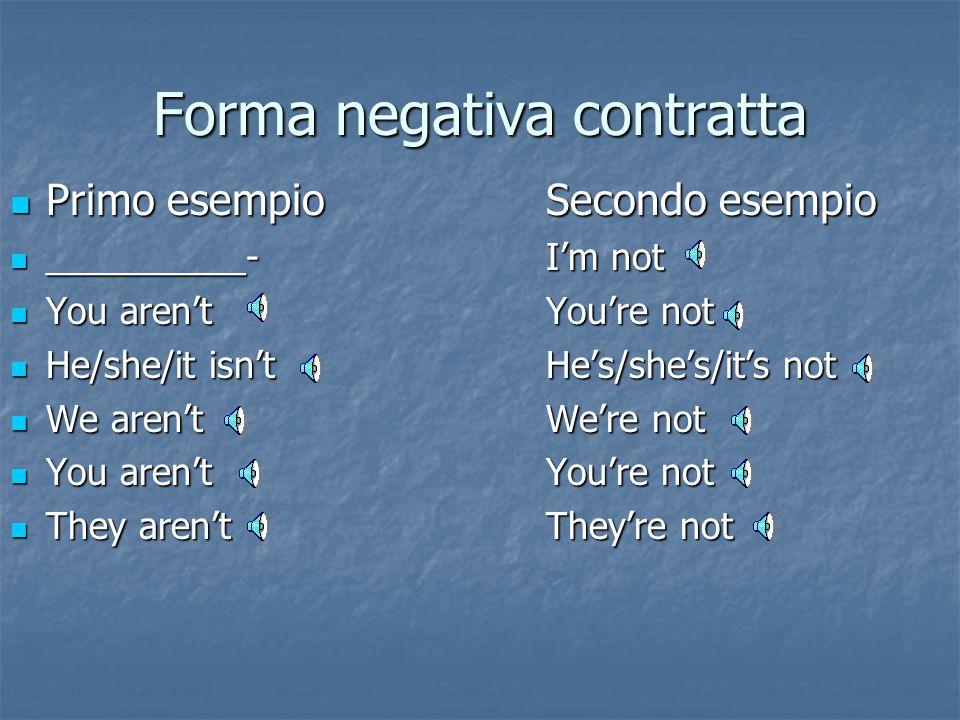 Forma affermativa Non contratta Non contratta Contratta Contratta I am I'm You are you're He/she/it is he's/she's/it's We are we're You are you're The