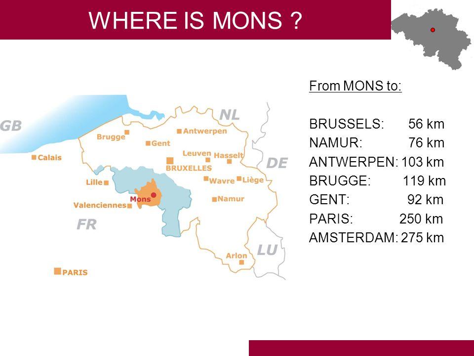 MONS REGION TOURIST OFFICE 22, Grand-Place 7000 MONS BELGIUM Phone: 065/33.55.80 Mail: michel.vasko@ville.mons.be URL: www.monsregion.comwww.monsregion.com FOR MORE INFORMATION