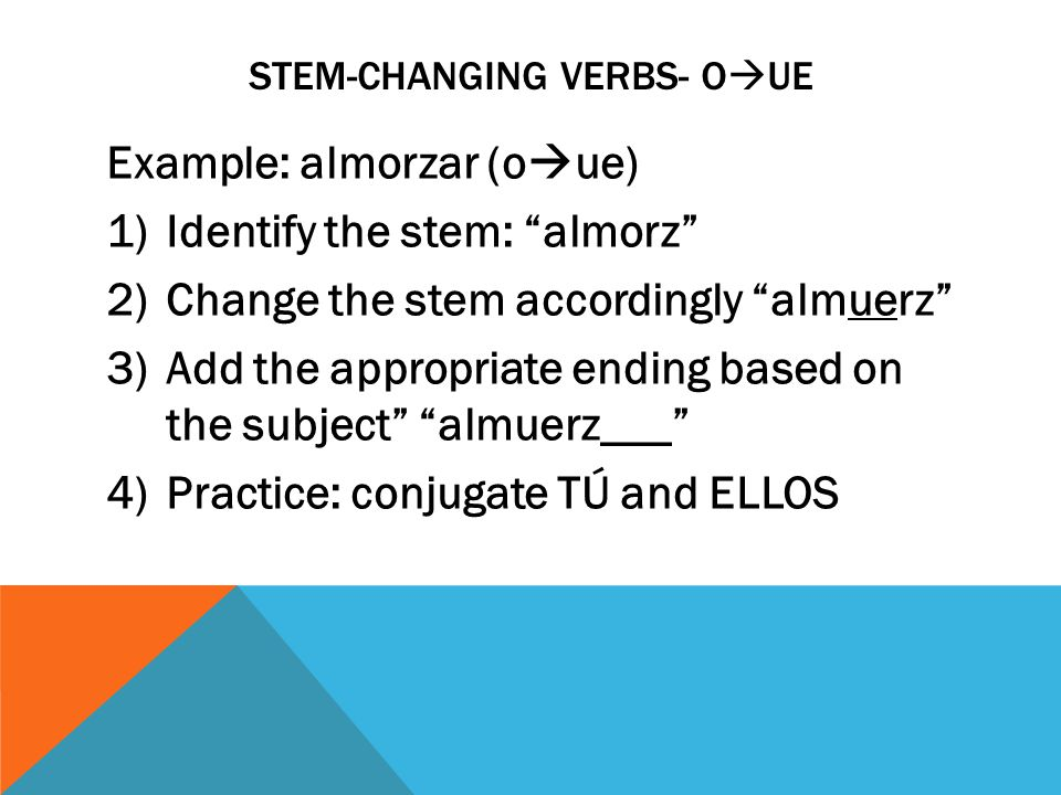 STEM-CHANGING VERBS- O  UE Example: almorzar (o  ue) 1)Identify the stem: almorz 2)Change the stem accordingly almuerz 3)Add the appropriate ending based on the subject almuerz___ 4)Practice: conjugate TÚ and ELLOS