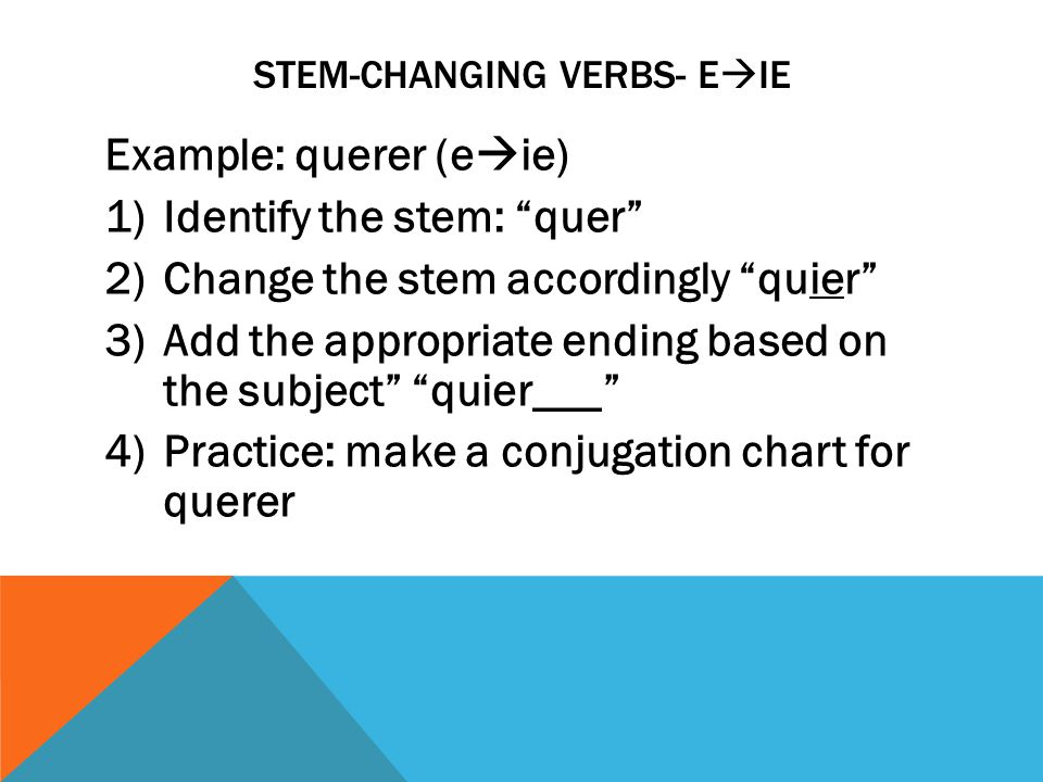 STEM-CHANGING VERBS- E  IE Example: querer (e  ie) 1)Identify the stem: quer 2)Change the stem accordingly quier 3)Add the appropriate ending based on the subject quier___ 4)Practice: make a conjugation chart for querer