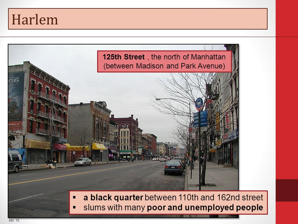 Harlem obr. 10  a black quarter between 110th and 162nd street  slums with many poor and unemployed people 125th Street, the north of Manhattan (bet