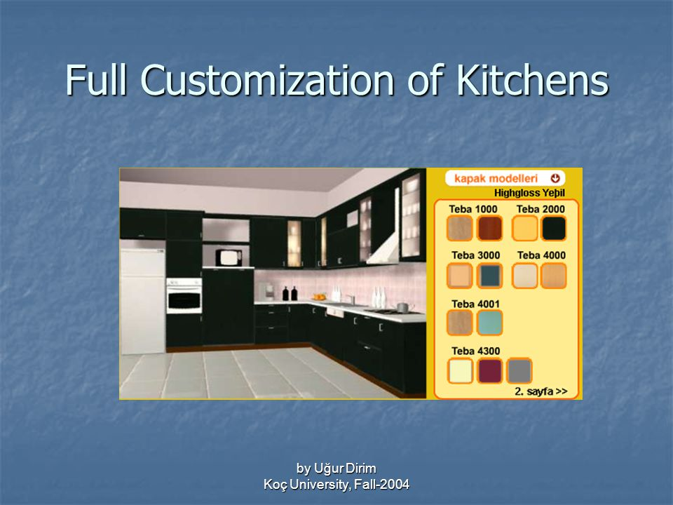 by Uğur Dirim Koç University, Fall-2004 Full Customization of Kitchens