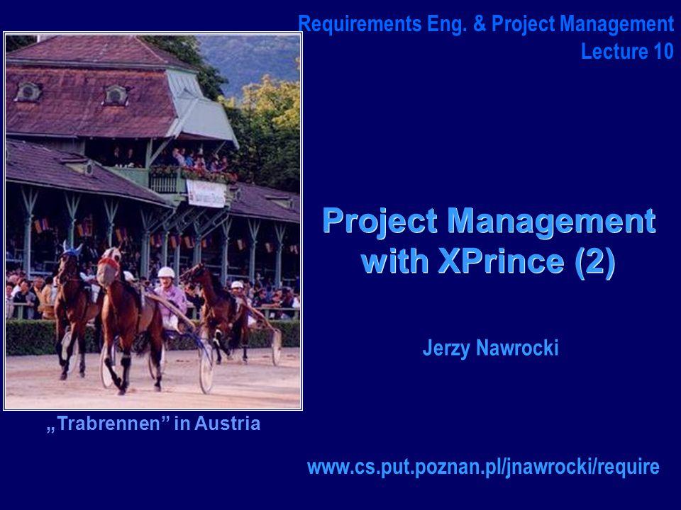 J.Nawrocki, XPrince (2) XP Prince 2 Kierownik Zespołu XPrince Team Project Board Senior user ExecutiveSenior Supplier Manager Project Assurance Developers Architect Analyst