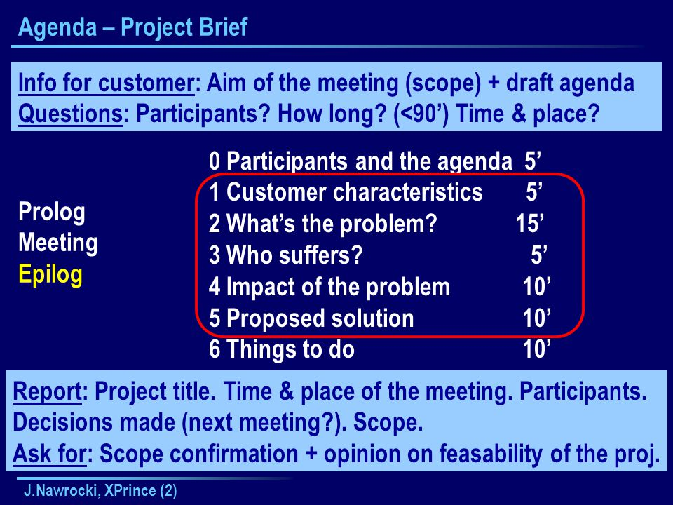 J.Nawrocki, XPrince (2) Agenda – Project Brief Prolog Meeting Epilog 0 Participants and the agenda 5' 1 Customer characteristics 5' 2 What's the problem.