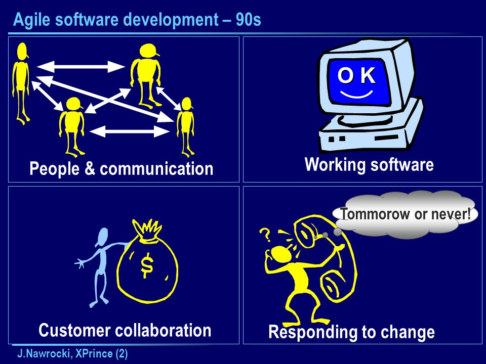 J.Nawrocki, XPrince (2) Agile software development – 90s People & communication Customer collaboration Responding to change Tommorow or never.